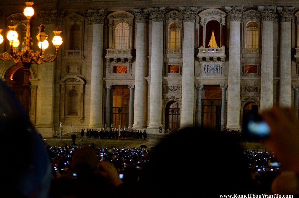 The sea of iPhones waiting for the announcement. The Swiss Guards lined up on the steps.