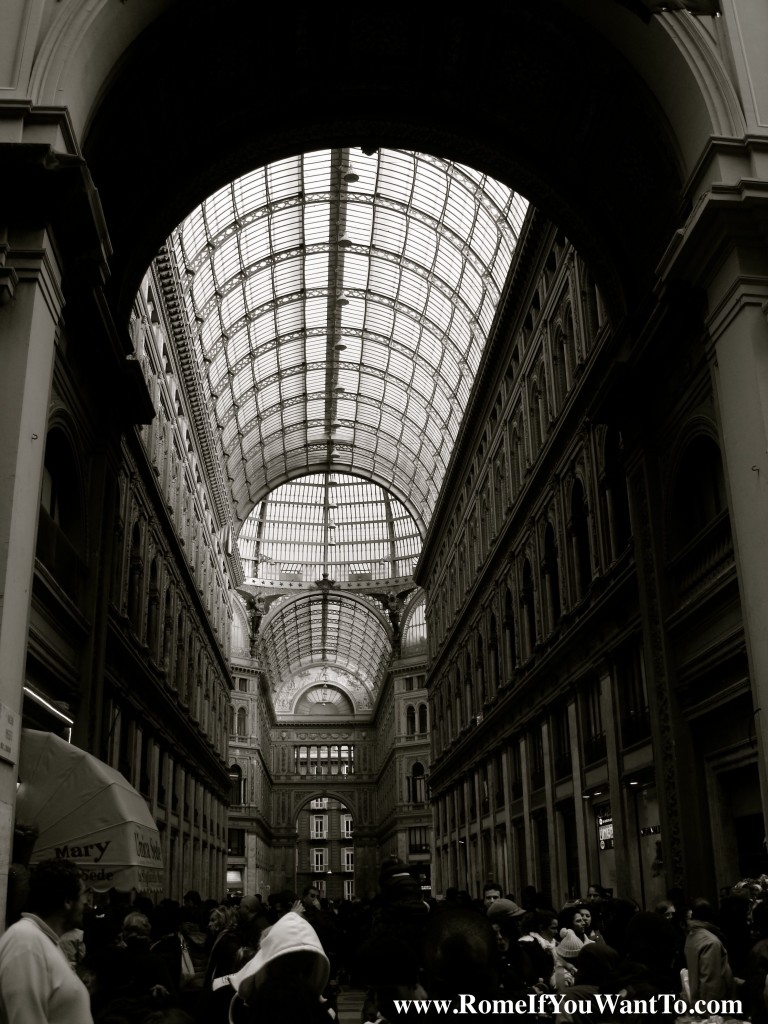 The Galleria - lots of people ducking in from the rain.