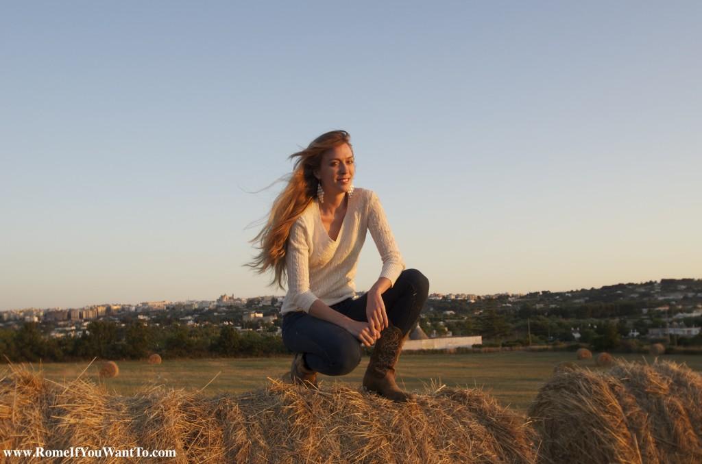 Liz in Puglia (Trulli in Background)