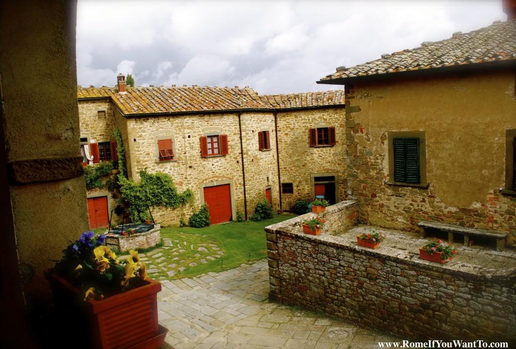 Inside the Castello di Gargonza. Stay here.