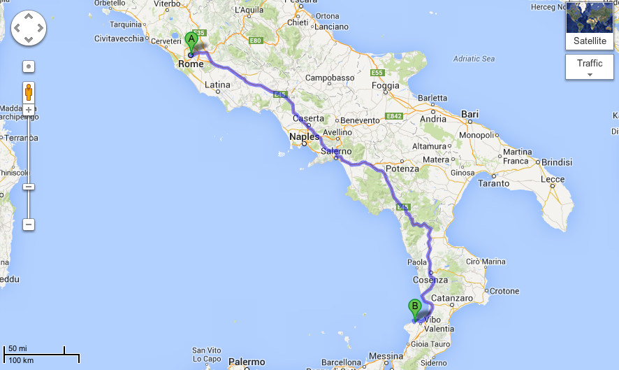 Map of Rome to Calabria