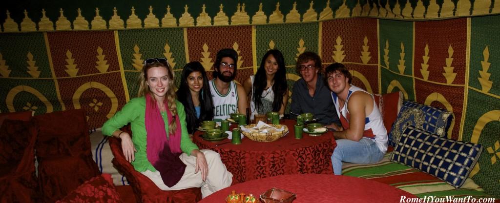 Our dinner tent in the Berber Camp. L-R. Me, Seema, Mike, Marion, Brendan, Matt