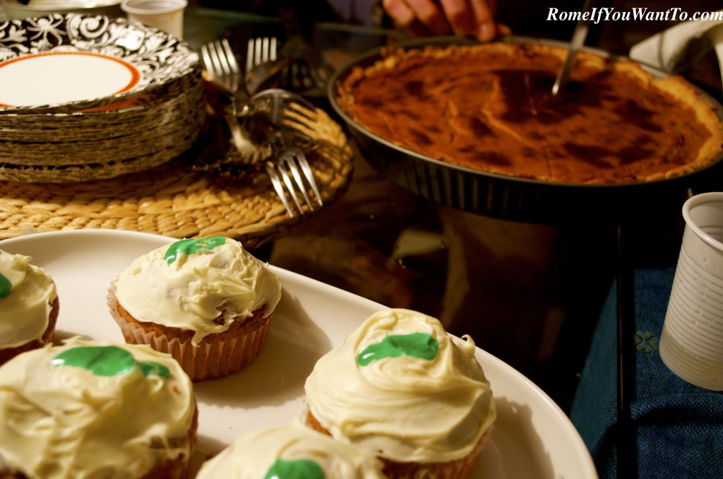 Pumpkin pie and carrot cake cupcakes for dessert (and happily, a few leftovers for the next day).