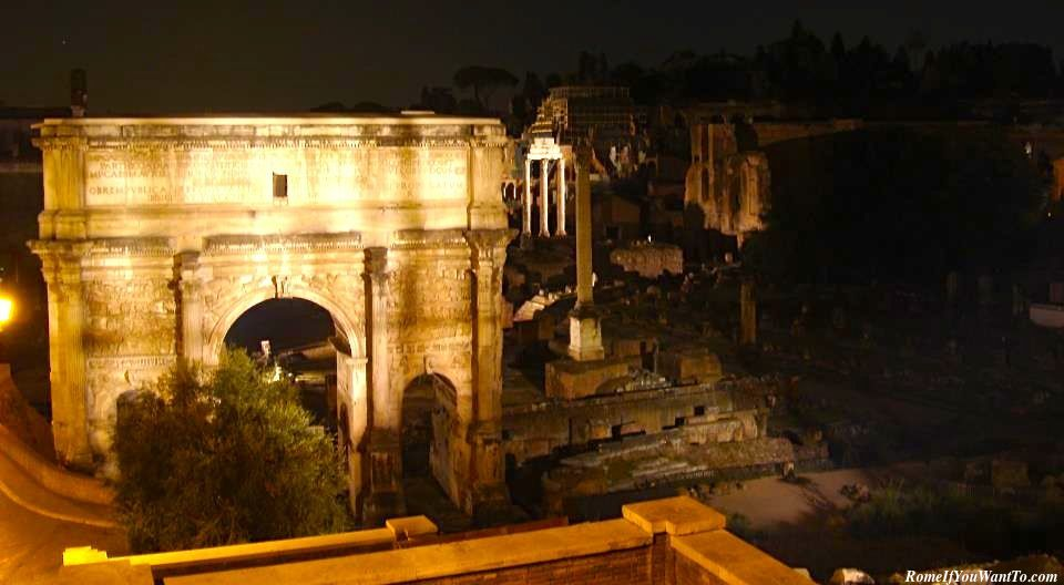 Roman Forum at Night, from the secret spot behind the Campidoglio.