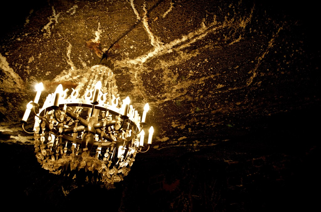 Inside the salt mine. Chandelier is made of salt crystals.