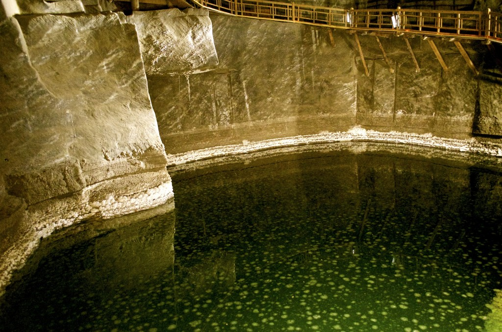 Pool in the salt mine. The white spots in the water are... you guessed it.