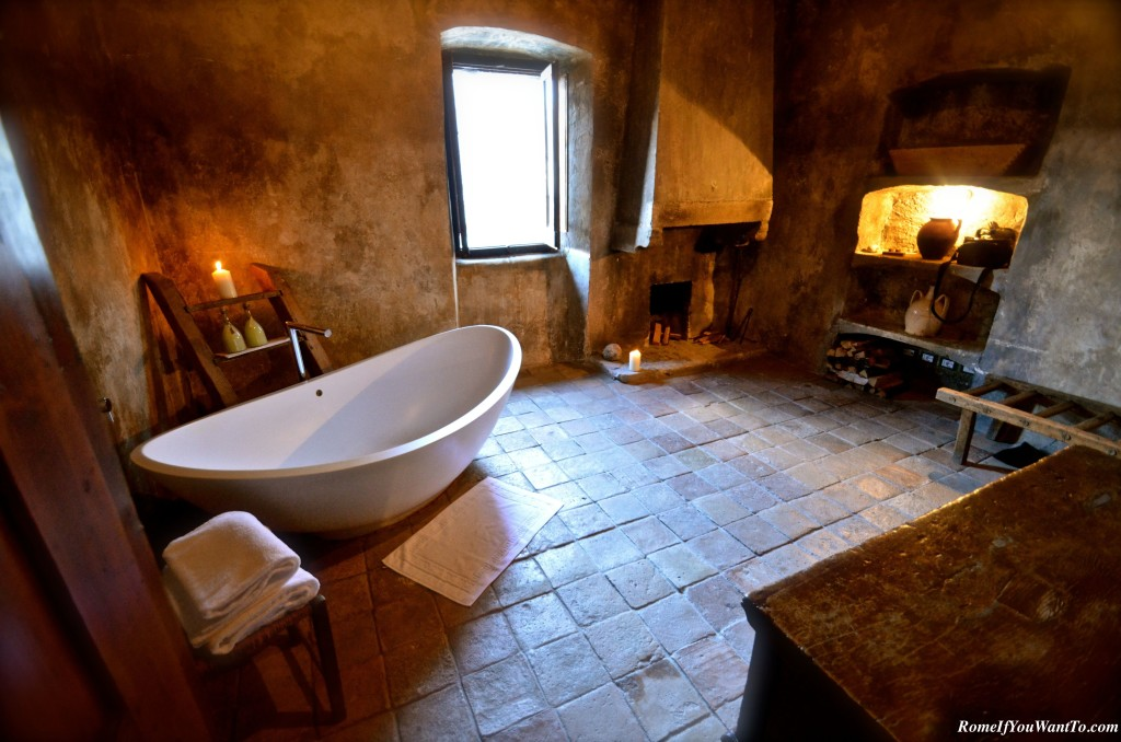 The room of my dreams, y'all. Huge tub, fireplace, heated stone floors, mountain views.