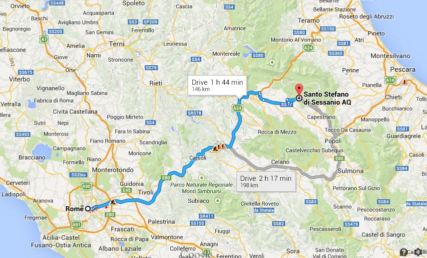 Map Rome to Santo Stefano di Sessanio