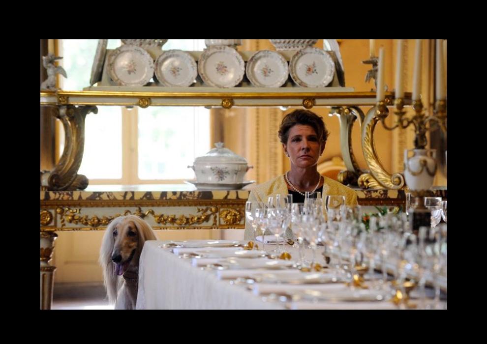 A shot from the movie, filmed in Palazzo Sacchetti's dining room. Photo: espresso.repubblica.it.