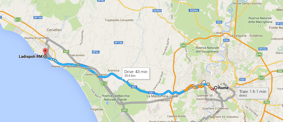 An easy drive if you have a car, but there are multiple trains per hour from Termini or the little San Pietro train station in Rome.
