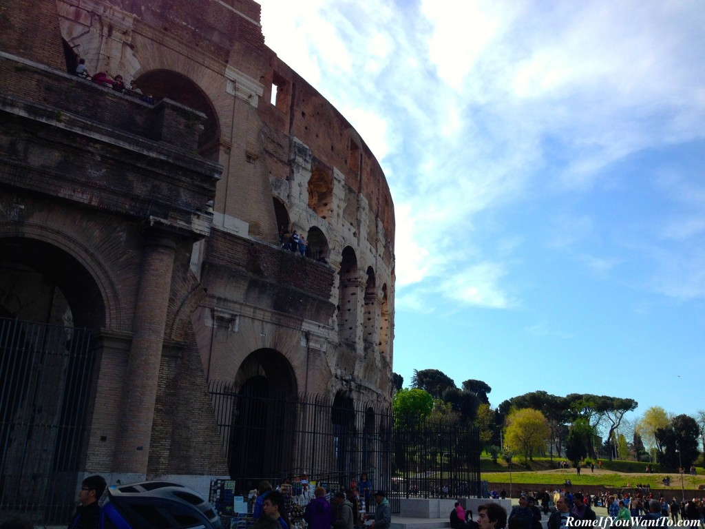 The Colosseum. Towering over all the pedestrians for a better view!