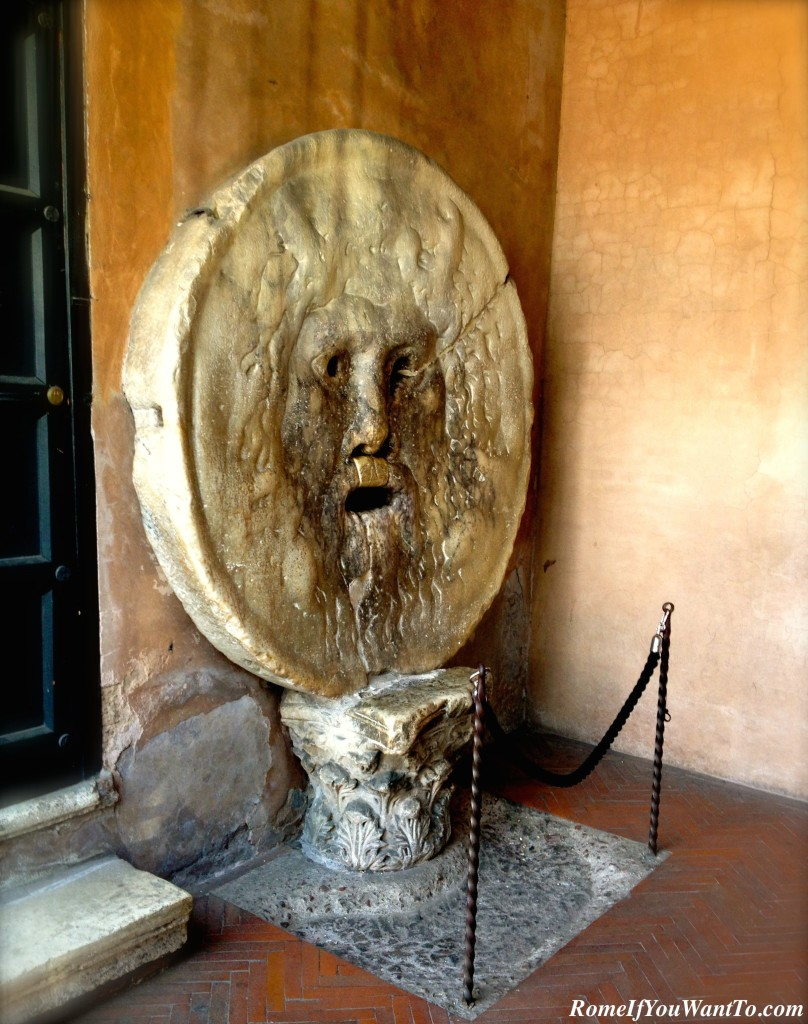 La Bocca della Verita' - The Mouth of Truth, which you may remember from Audrey Hepburn's Roman Holiday.