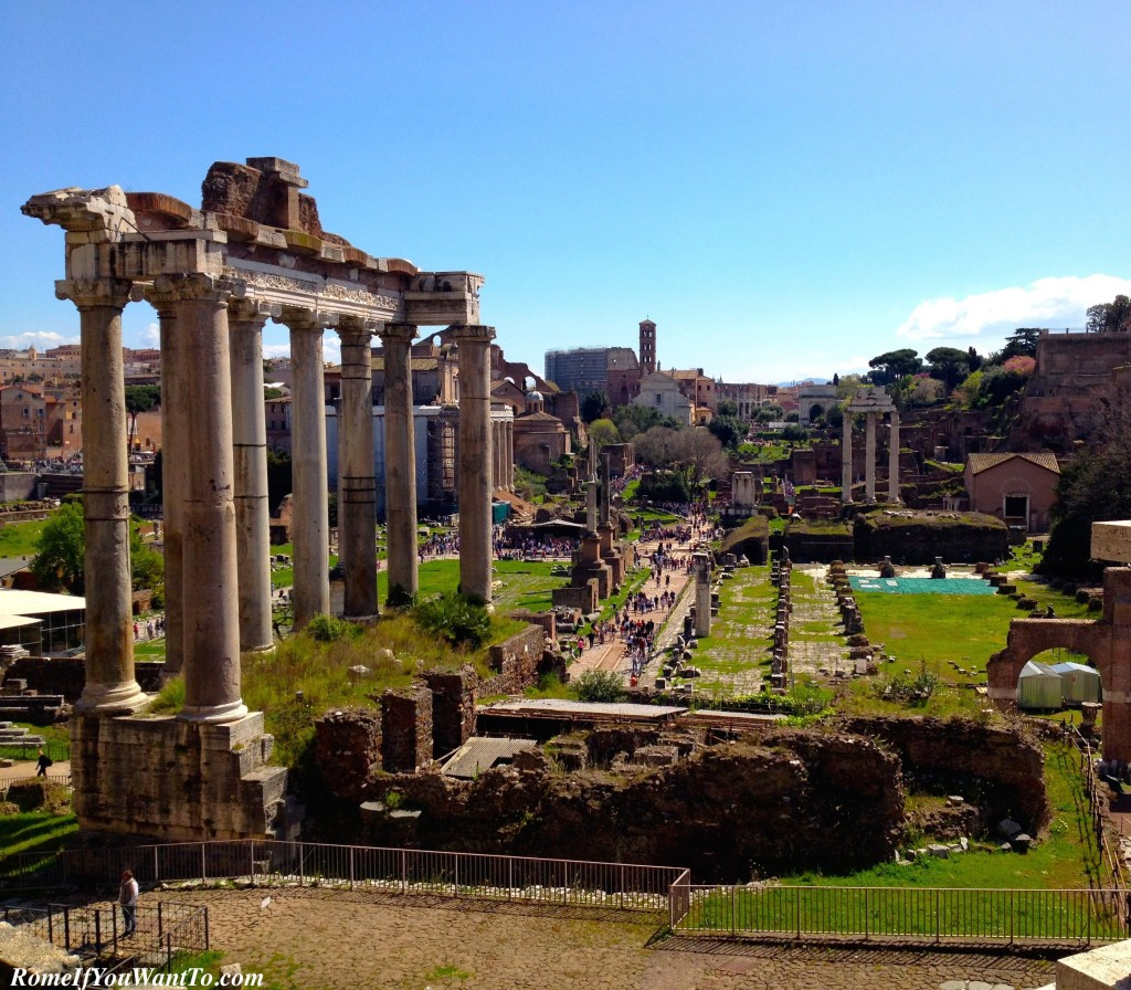 The Roman Forums, from our perch behind the Campidoglio. Again, the Segway eliminates the effort of getting up this hill.