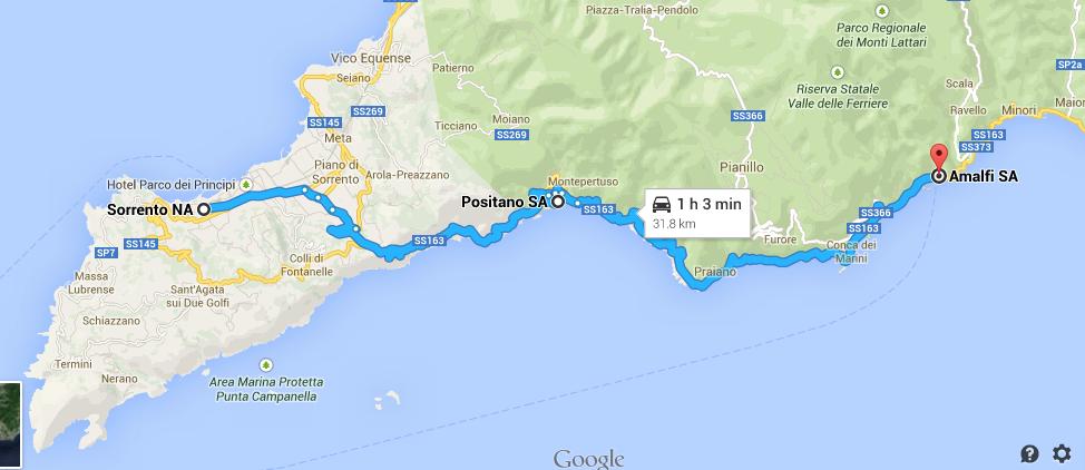 Map Amalfi Coast